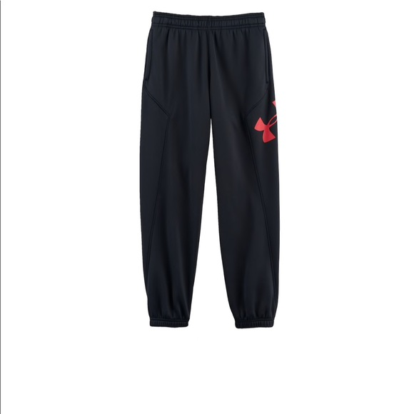 47d0091f5 Under Armour Bottoms | Black Red Fleece Jogger Pants Small | Poshmark